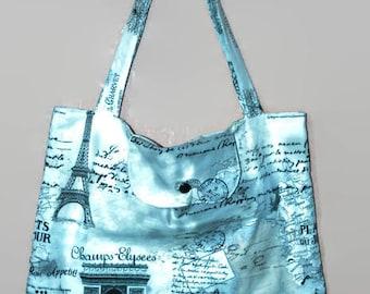 Shopping bag foldable Paris theme fabric