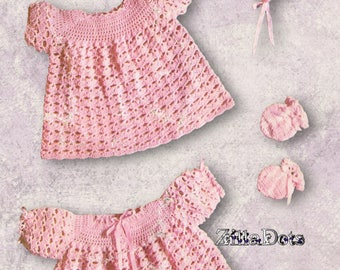 Baby Crochet Pattern - PDF Download, Crochet Matinee set in 4 ply yarn, consisting of Dress, Coat, Mittens, Bonnet and Shoes