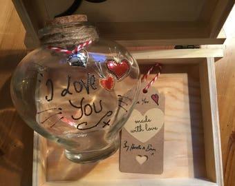 Glass heart bottle  gift love token  I love you caption 12 x 13 cm hand painted gift
