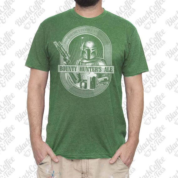 St Patricks Day Shirt -Mens Star Wars Shirt- Boba Fett T-shirt -Boba Fett Bounty Hunters Ale Hand Screen Printed on a Mens Green T-shirt