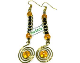 handmade earrings, brass earrings, African earrings, Statement earrings, Gift for her