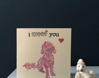 """Liberty London Golden Doodle (Design 3) """"I Woof You"""" silhouette handmade greeting card"""