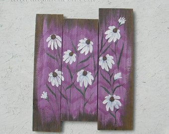 Farmhouse Country Cottage Chic Original White Echinacea Painting Chevron Pattern Wildflowers Home Decor Radiant Orchid Reclaimed Wood
