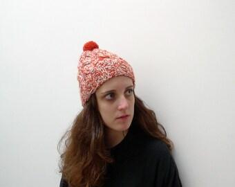 Hand knit Chunky Beanie, Soft wool hat, Orange Marl, Womens Winter Hat