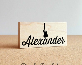 Personalized Custom Rubber Stamp, Guitar Name Stamp