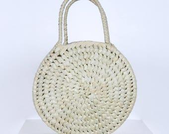 PANDE ZOTE: Round Palm Basket Bag