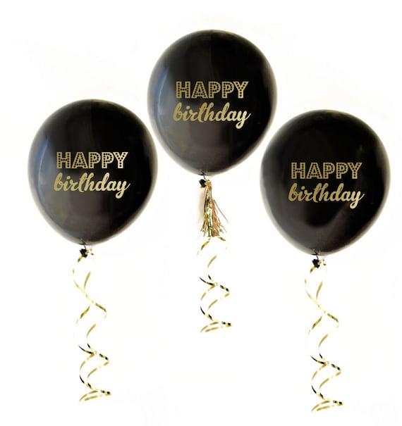 Happy Birthday Balloons Black Gold Birthday Decor Adult Birthday