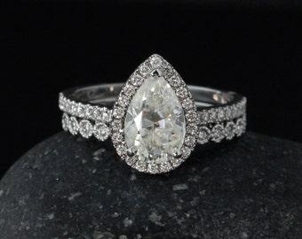 Forever One Moissanite Teardrop Ring - Engagement Ring - Diamond Wedding Band