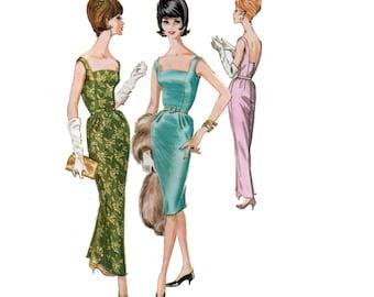 60s Evening Gown pattern Wiggle Dress Pattern vintage 34.5-28-36.5 Hannah Troy Princess Seam Dress Cocktail Dress Bust 34 McCalls 6042