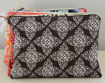 Zipper Pouch in Lacework - cosmetic bag travel case diaper bag organizer medium brown white ipad mini kindle toiletry gift set