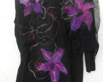 Nuno felted scarf, long wool silk scarf, felted flowers scarf, purple and black scarf, lace wool silk scarf, Christmas gift scarf,