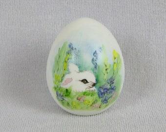 Vintage White Bunny Rabbit Easter Egg Handpainted Ceramic Porcelain Ornament 1980s Inscribed