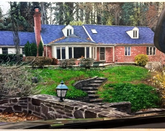home painting from photo, housewarming gift, 24x36 inches. 100% money-back guarantee