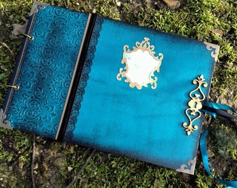Turquoise style guestbook baroque, Victorian, Gothic with lock ornament