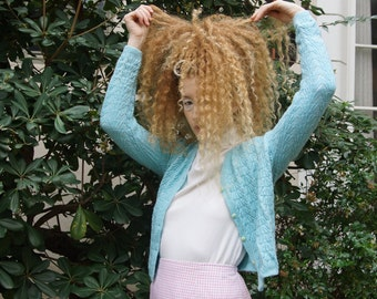 Vintage Baby Blue Cable Knit Cardigan