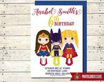 Superhero Birthday Invitation | Wonder Woman Birthday | Bat Girl | Super Girl | Superhero | Halloween | Digital | invite | Party | Costume