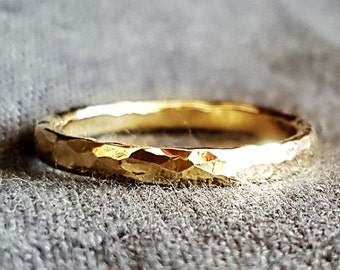Gold Filled Men Wedding Band Ring, Hammered Classic Minimalist Handmade