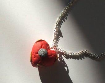 Iron Man - Superhero heart, polymer clay pendant necklace