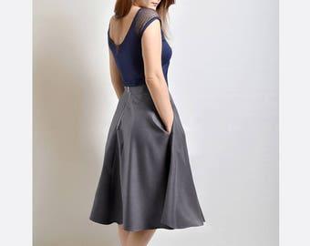 Grey Cotton flared skirt, Midi skirt, Skirt with Pockets