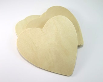 4.5 inch Unfinished Wood Heart - Wooden Heart Cut Outs Wedding Favors