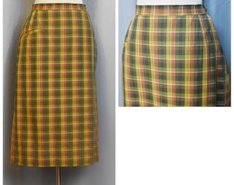 Tailored by Kasmit Fall Plaid 60s Skirt