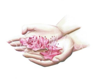 The spring in my hands - Art print, drawing, illustration,...