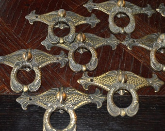 Antique French Ring Drawer Pulls & Backplates Brass Hardware 5 Available Sold Individually