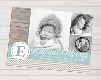 Print-yourself Photo Birth Announcement - Boy, Multiple Photo