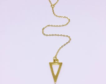 Geometric Triangle Lariat Necklace in Gold
