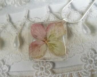 Ombre Pink Hydrangea Glass Diamond Shaped Pressed Flower Pendant-Symbolizes Understanding,Anything Heartfelt-Nature's Art