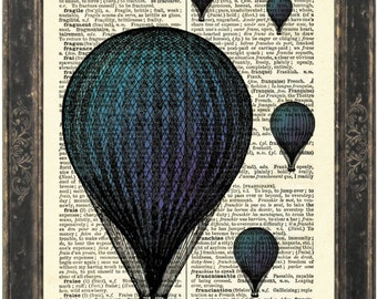 Blue Balloon Print on 1900's  English French Dictionary Upcycled Book Page