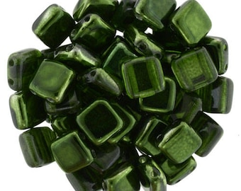 Mirror Fern Green : Czechmates Tile, 6mm, 2 HoleCzech Beads - Choose Quantity