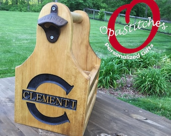 Personalized Beer Caddy with Bottle Opener  wood engraved assembled and stained.rustic wood, one of a kind, customized for you