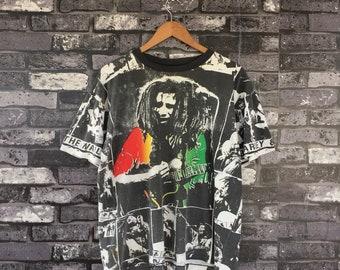Vintage BOB MARLEY All Over Print Design The Wailers Band Print T-Shirt #955