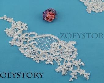 Alencon Lace Applique, Corded Lace Applique, Light Ivory Embroidery Lace, Bridal Lace Applique, 2 Pcs (AL048)
