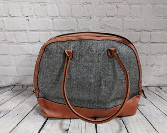 Monogram Herringbone Clamshell Bag Purse