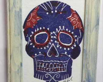 Day of the Dead Letterpress Hand Carved Woodblock Print in Custom Distressed Frame