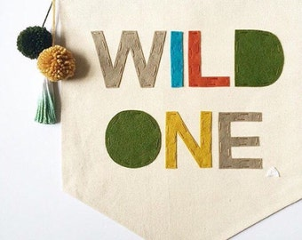 WILD ONE - Canvas wall Banner - 19 x 13in