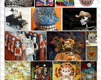 Day of the Dead Digital Download Collage Sheet C