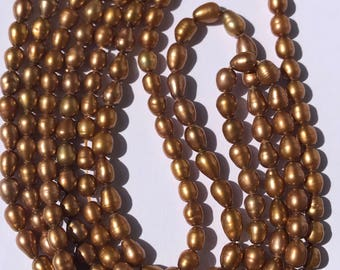 "Freshwater Pearls, Rice Shaped, Bronze, 4-5MM, 16"" Strand"
