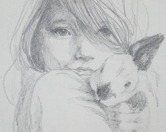 CustomCustomPortrait of a Child and Pet, Mothers Day Gift, Drawing of a Girl and Pet, Custom Portrait of a Child and Pet, Drawing of a Child