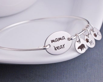 Mama Bear Bracelet, Personalized Mama Bear Jewelry, Gift for Mom, Christmas Gift for Mother