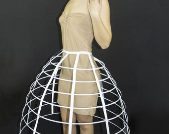 White color hoop skirt pannier 8 rows plastic boned crinoline cage 31 inches long