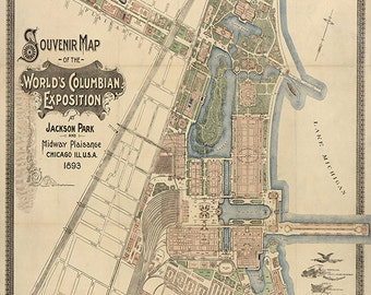 Souvenir map of the World's Columbian Exposition at Jackson Park and Midway Plaisance, Chicago, Ill, U.S. A. 1893. Vintage reproduction map