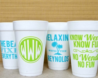 100 Personalized Foam Party Cups, Customizable Styrofoam Cups, Monogrammed Cups, Beach Wedding, Birthday Party, Printed Party Cups