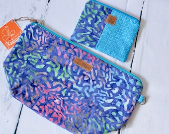Set of Wide Project Bag + DPN Cozy, Zipper Pouch, cosmetic pouch, padded pouch, project pouch, wedge pouch,  knitting bag, crochet bag