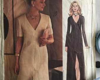 Vogue Paris Original Christian Dior 2607 Paper Pattern, Misses A Line Dress, V Neckline, Vintage Evening Day Dress Size 12, Bust 34