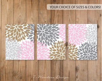 Flower Bursts, Floral Dahlia Abstract Art Print Set of (3) Flower Pictures // Soft Pink Gray Beige // Bedroom, Bathroom, Living Room