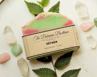 Ostara - Handmade Soap - Goddess Soap - Arugula + White Lily + Green Leaf - Shea Butter Soap - Cold Process Soap - All Natural Soap