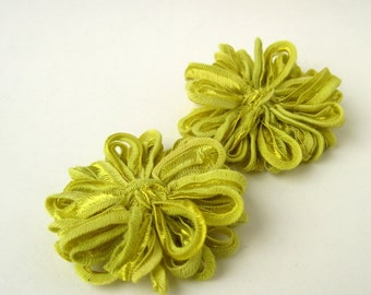 Ribbon Flower Appliques, Lime Green, 2 inch, 5cm